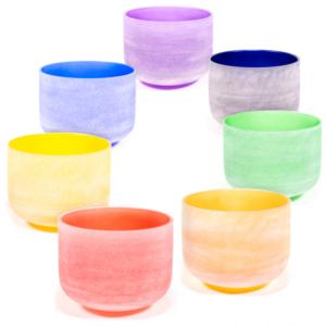 Campane Cristallo Chakra Colorate Set da 7
